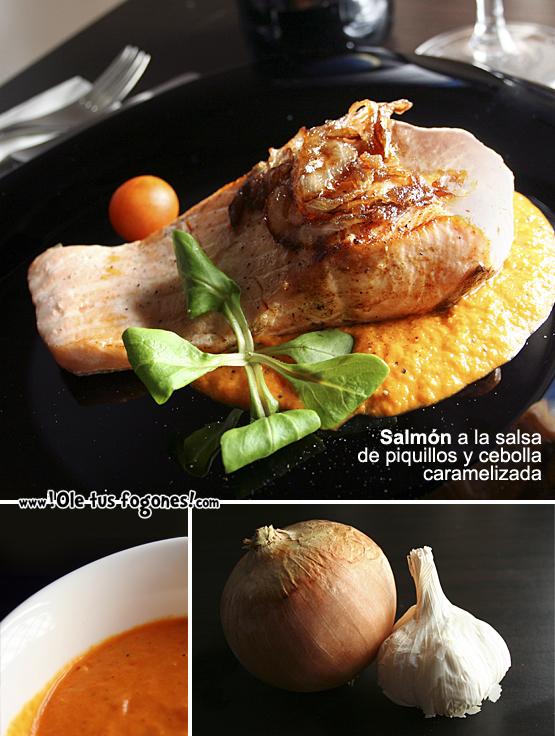 Salmón a la salsa de piquillos