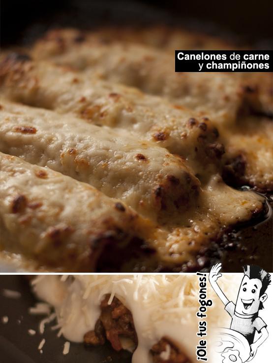 Canelones con carne y champiñones