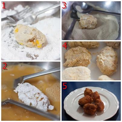 croquetas de pollo asado y naranja confitada