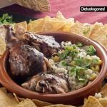 Pollo al mole rojo y arroz a la mexicana