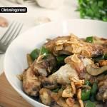Alitas de pollo al ajillo con champiñones
