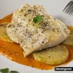 Bacalao confitado en salsa de piquillos dulce